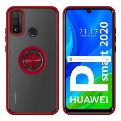Funda Mate con Borde Rojo y Anillo Giratorio 360 para Huawei P Smart 2020