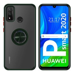Funda Mate con Borde Verde y Anillo Giratorio 360 para Huawei P Smart 2020
