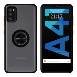 Funda Mate con Borde Negro y Anillo Giratorio 360 para Samsung Galaxy A41