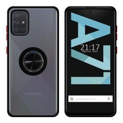 Funda Mate con Borde Negro y Anillo Giratorio 360 para Samsung Galaxy A71