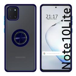 Funda Mate con Borde Azul y Anillo Giratorio 360 para Samsung Galaxy Note 10 Lite
