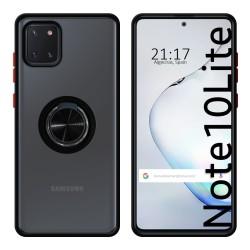 Funda Mate con Borde Negro y Anillo Giratorio 360 para Samsung Galaxy Note 10 Lite