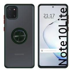 Funda Mate con Borde Verde y Anillo Giratorio 360 para Samsung Galaxy Note 10 Lite
