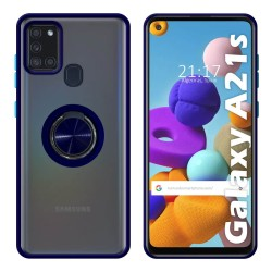Funda Mate con Borde Azul y Anillo Giratorio 360 para Samsung Galaxy a21s