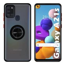 Funda Mate con Borde Negro y Anillo Giratorio 360 para Samsung Galaxy a21s