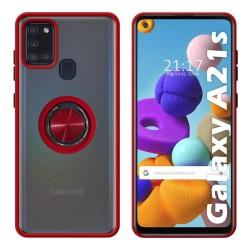 Funda Mate con Borde Rojo y Anillo Giratorio 360 para Samsung Galaxy a21s