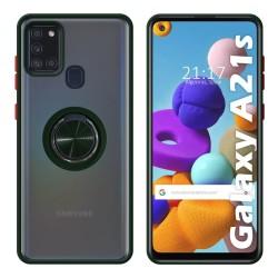 Funda Mate con Borde Verde y Anillo Giratorio 360 para Samsung Galaxy a21s
