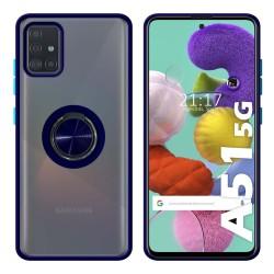 Funda Mate con Borde Azul y Anillo Giratorio 360 para Samsung Galaxy A51 5G
