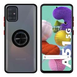Funda Mate con Borde Negro y Anillo Giratorio 360 para Samsung Galaxy A51 5G