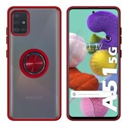 Funda Mate con Borde Rojo y Anillo Giratorio 360 para Samsung Galaxy A51 5G