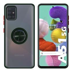 Funda Mate con Borde Verde y Anillo Giratorio 360 para Samsung Galaxy A51 5G