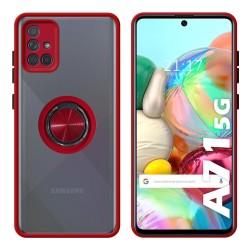 Funda Mate con Borde Rojo y Anillo Giratorio 360 para Samsung Galaxy A71 5G