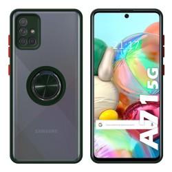 Funda Mate con Borde Verde y Anillo Giratorio 360 para Samsung Galaxy A71 5G