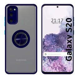 Funda Mate con Borde Azul y Anillo Giratorio 360 para Samsung Galaxy S20