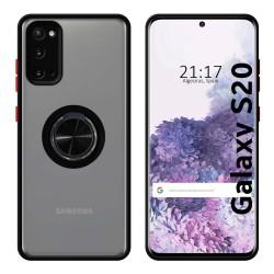 Funda Mate con Borde Negro y Anillo Giratorio 360 para Samsung Galaxy S20