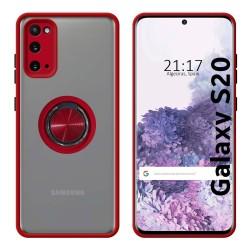 Funda Mate con Borde Rojo y Anillo Giratorio 360 para Samsung Galaxy S20