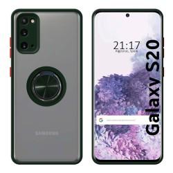 Funda Mate con Borde Verde y Anillo Giratorio 360 para Samsung Galaxy S20