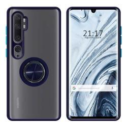 Funda Mate con Borde Azul y Anillo Giratorio 360 para Xiaomi Mi Note 10