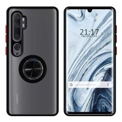 Funda Mate con Borde Negro y Anillo Giratorio 360 para Xiaomi Mi Note 10