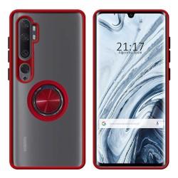 Funda Mate con Borde Rojo y Anillo Giratorio 360 para Xiaomi Mi Note 10