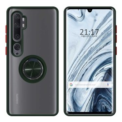 Funda Mate con Borde Verde y Anillo Giratorio 360 para Xiaomi Mi Note 10