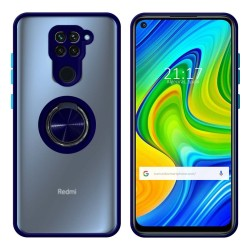 Funda Mate con Borde Azul y Anillo Giratorio 360 para Xiaomi Redmi Note 9