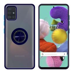 Funda Mate con Borde Azul y Anillo Giratorio 360 para Samsung Galaxy A51