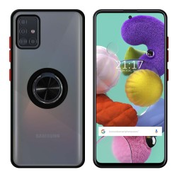 Funda Mate con Borde Negro y Anillo Giratorio 360 para Samsung Galaxy A51