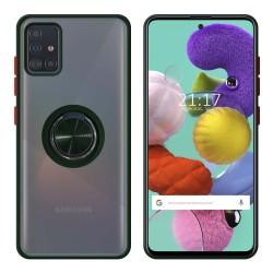 Funda Mate con Borde Verde y Anillo Giratorio 360 para Samsung Galaxy A51