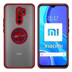 Funda Mate con Borde Rojo y Anillo Giratorio 360 para Xiaomi Redmi 9