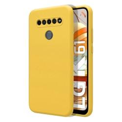 Funda Silicona Líquida Ultra Suave para Lg K61 color Amarilla