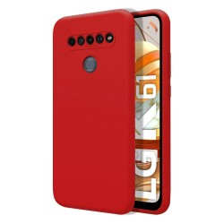 Funda Silicona Líquida Ultra Suave para Lg K61 color Roja