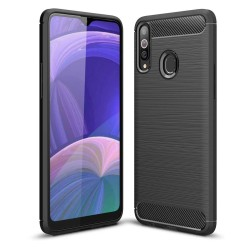 Funda Gel Tpu Tipo Carbon Negra para Samsung Galaxy A20s
