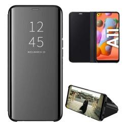 Funda Flip Cover Clear View para Samsung Galaxy A11 color Negra