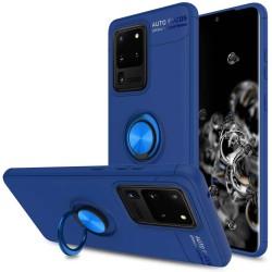 Funda Magnetica Soporte con Anillo Giratorio 360 para Samsung Galaxy Note 20 Ultra Azul