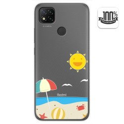 Funda Gel Transparente para Xiaomi Redmi 9C diseño Playa Dibujos