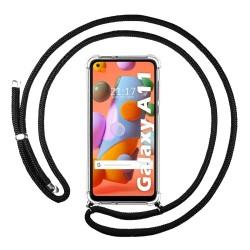 Funda Colgante Transparente para Samsung Galaxy A11 / M11 con Cordon Negro