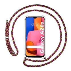 Funda Colgante Transparente para Samsung Galaxy A20s con Cordon Rosa / Dorado