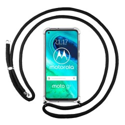 Funda Colgante Transparente para Motorola Moto G8 con Cordon Negro
