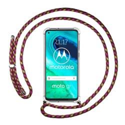 Funda Colgante Transparente para Motorola Moto G8 con Cordon Rosa / Dorado