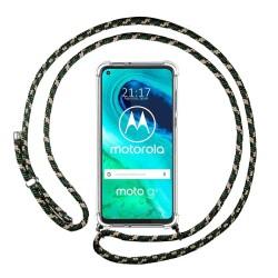 Funda Colgante Transparente para Motorola Moto G8 con Cordon Verde / Dorado