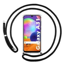 Funda Colgante Transparente para Samsung Galaxy A31 con Cordon Negro
