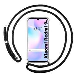 Funda Colgante Transparente para Xiaomi Redmi 9A / 9AT con Cordon Negro