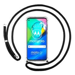 Funda Colgante Transparente para Motorola Moto G8 Power con Cordon Negro