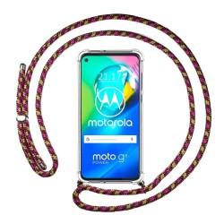 Funda Colgante Transparente para Motorola Moto G8 Power con Cordon Rosa / Dorado