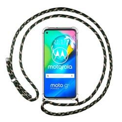 Funda Colgante Transparente para Motorola Moto G8 Power con Cordon Verde / Dorado