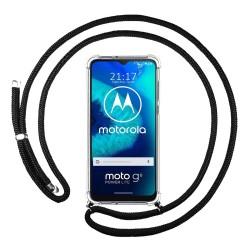 Funda Colgante Transparente para Motorola Moto G8 Power Lite con Cordon Negro
