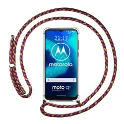 Funda Colgante Transparente para Motorola Moto G8 Power Lite con Cordon Rosa / Dorado