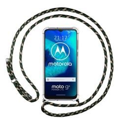 Funda Colgante Transparente para Motorola Moto G8 Power Lite con Cordon Verde / Dorado