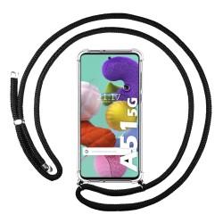 Funda Colgante Transparente para Samsung Galaxy A51 5G con Cordon Negro